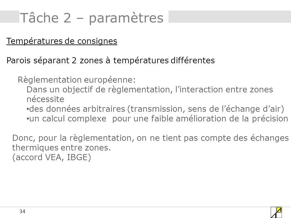 34 Tâche 2 – paramètres Températures de consignes Parois séparant 2 zones à températures différentes Règlementation européenne: Dans un objectif de rè