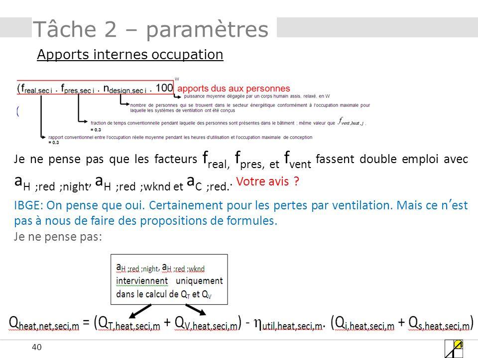 40 Tâche 2 – paramètres Apports internes occupation Je ne pense pas que les facteurs f real, f pres, et f vent fassent double emploi avec a H ;red ;ni