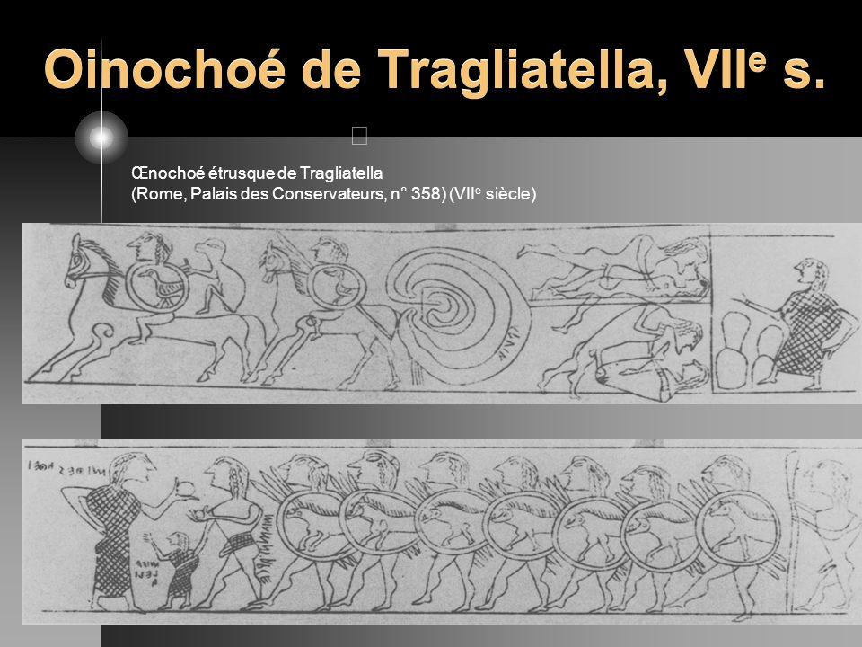 Oinochoé de Tragliatella, VII e s. Œnochoé étrusque de Tragliatella (Rome, Palais des Conservateurs, n° 358) (VII e siècle) Famille aristocratique Hom