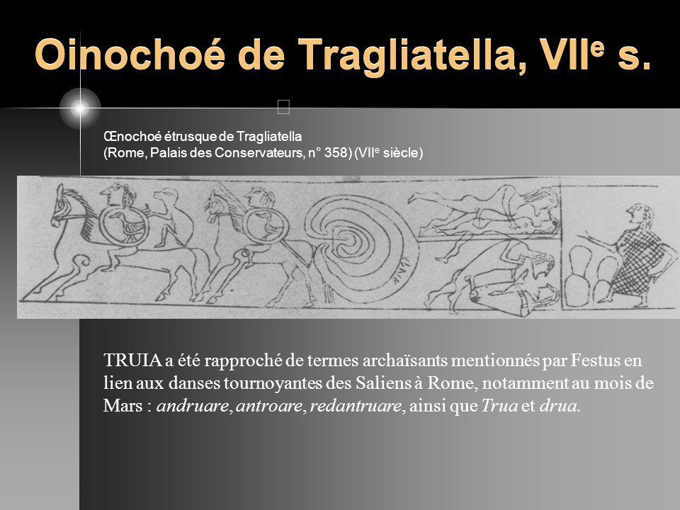 Oinochoé de Tragliatella, VII e s. Œnochoé étrusque de Tragliatella (Rome, Palais des Conservateurs, n° 358) (VII e siècle) TRUIA a été rapproché de t