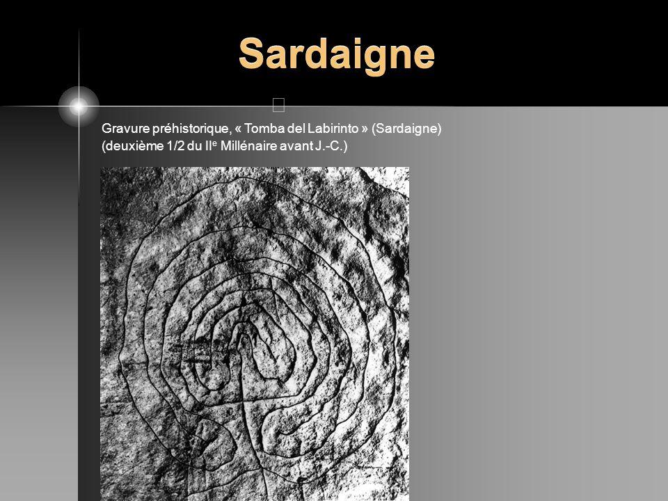 Sardaigne Gravure préhistorique, « Tomba del Labirinto » (Sardaigne) (deuxième 1/2 du II e Millénaire avant J.-C.)