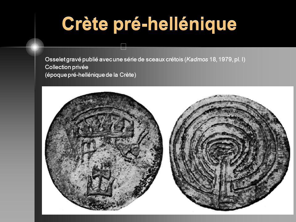 Crète pré-hellénique Osselet gravé publié avec une série de sceaux crétois (Kadmos 18, 1979, pl. I) Collection privée (époque pré-hellénique de la Crè