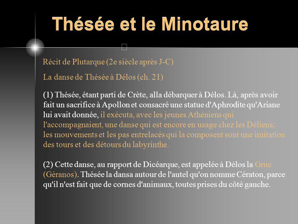 Thésée et le Minotaure Récit de Plutarque (2e siècle après J-C) La danse de Thésée à Délos (ch. 21) (1) Thésée, étant parti de Crète, alla débarquer à