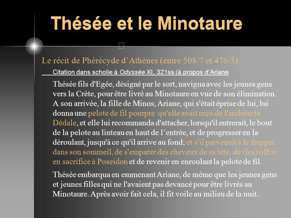 Thésée et le Minotaure Le récit de Phérécyde dAthènes (entre 508/7 et 476/5) Citation dans scholie à Odyssée XI, 321ss (à propos dAriane Thésée fils d