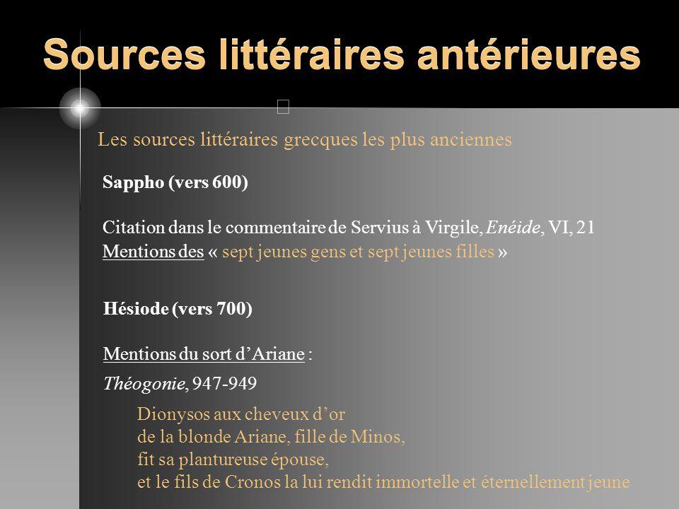 Sources littéraires antérieures Les sources littéraires grecques les plus anciennes Sappho (vers 600) Citation dans le commentaire de Servius à Virgil