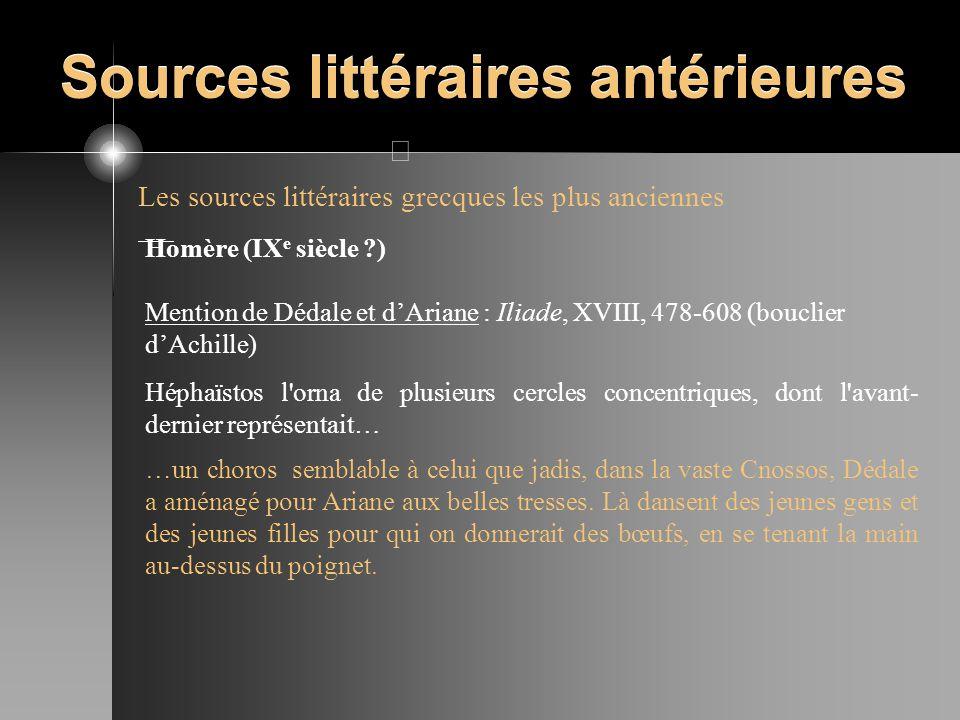 Sources littéraires antérieures Les sources littéraires grecques les plus anciennes Homère (IX e siècle ?) Mention de Dédale et dAriane : Iliade, XVII