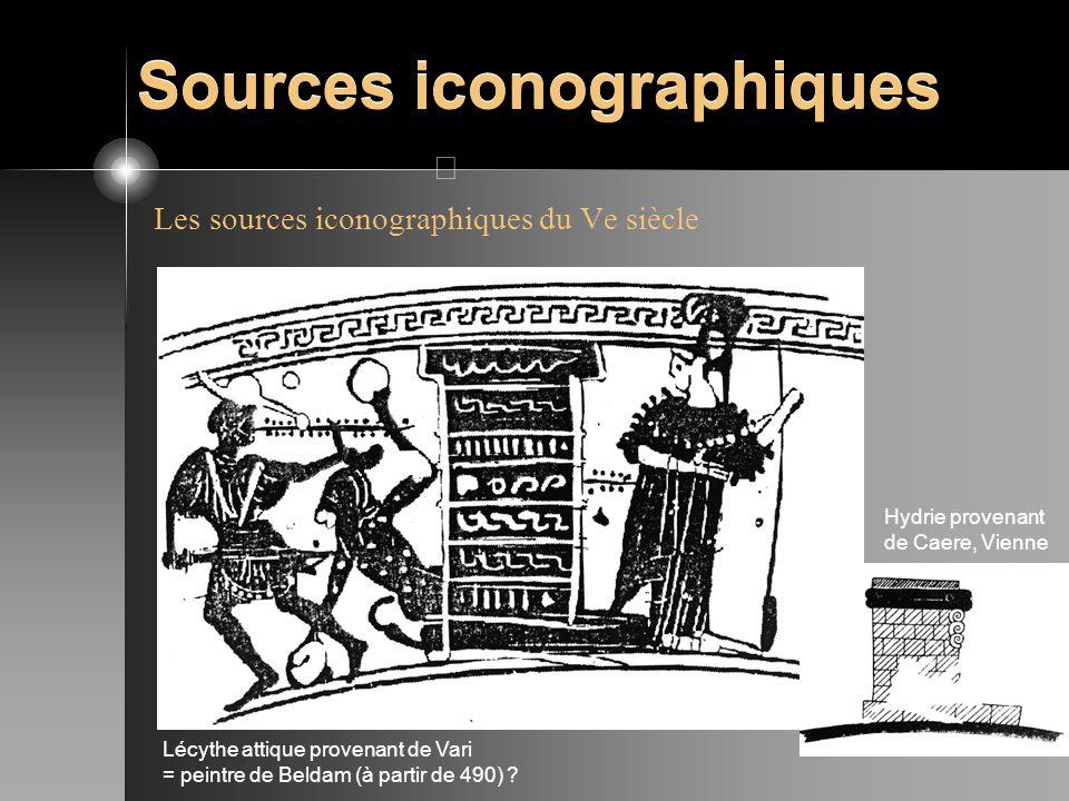 Sources iconographiques Les sources iconographiques du Ve siècle Hydrie provenant de Caere, Vienne Lécythe attique provenant de Vari = peintre de Beld