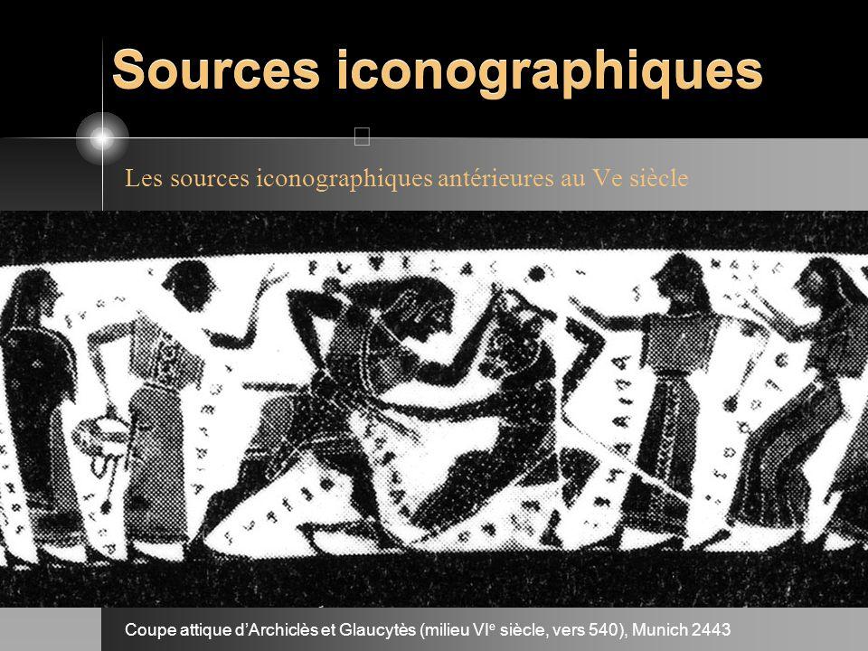 Sources iconographiques Les sources iconographiques antérieures au Ve siècle Coupe attique dArchiclès et Glaucytès (milieu VI e siècle, vers 540), Mun