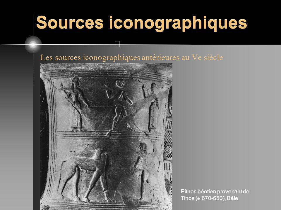 Sources iconographiques Les sources iconographiques antérieures au Ve siècle Pithos béotien provenant de Tinos (± 670-650), Bâle