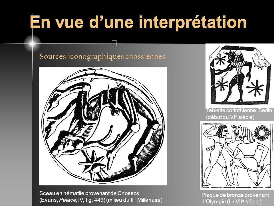 En vue dune interprétation Sources iconographiques cnossiennes Sceau en hématite provenant de Cnossos (Evans, Palace, IV, fig. 449) (milieu du II e Mi