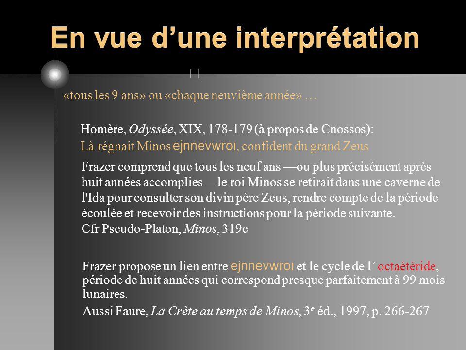 En vue dune interprétation «tous les 9 ans» ou «chaque neuvième année» … Homère, Odyssée, XIX, 178-179 (à propos de Cnossos): Là régnait Minos ejnnevw