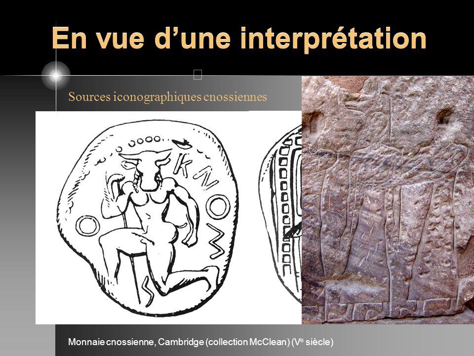 En vue dune interprétation Monnaie cnossienne, Cambridge (collection McClean) (V e siècle) Sources iconographiques cnossiennes