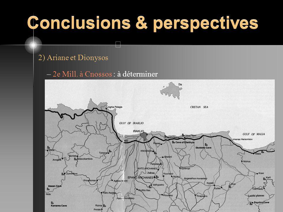 Conclusions & perspectives 2) Ariane et Dionysos – 2e Mill. à Cnossos : à déterminer – Monde grec VIIIe-VIIe s. : Ariane épouse de Dionysos (île de Di