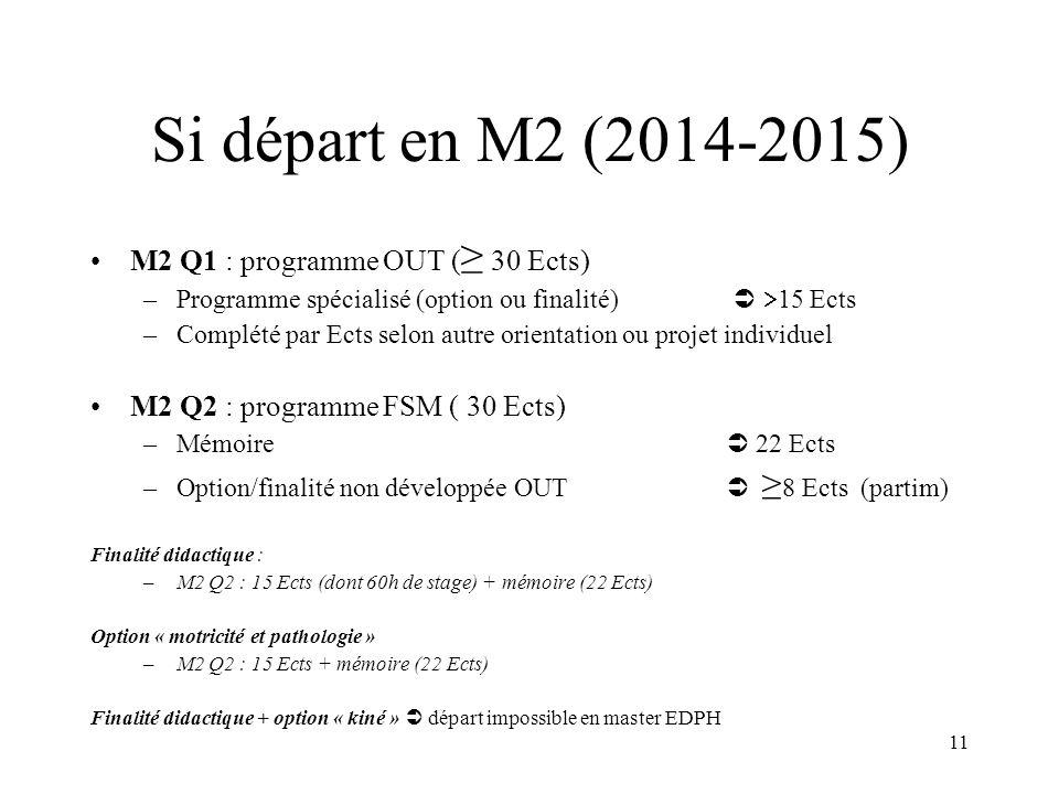 11 Si départ en M2 (2014-2015) M2 Q1 : programme OUT ( 30 Ects) –Programme spécialisé (option ou finalité) 15 Ects –Complété par Ects selon autre orientation ou projet individuel M2 Q2 : programme FSM ( 30 Ects) –Mémoire 22 Ects –Option/finalité non développéeOUT 8 Ects (partim) Finalité didactique : –M2 Q2 : 15 Ects (dont 60h de stage) + mémoire (22 Ects) Option « motricité et pathologie » –M2 Q2 : 15 Ects + mémoire (22 Ects) Finalité didactique + option « kiné » départ impossible en master EDPH