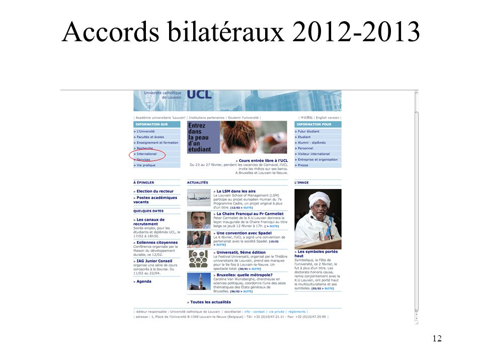 12 Accords bilatéraux 2012-2013