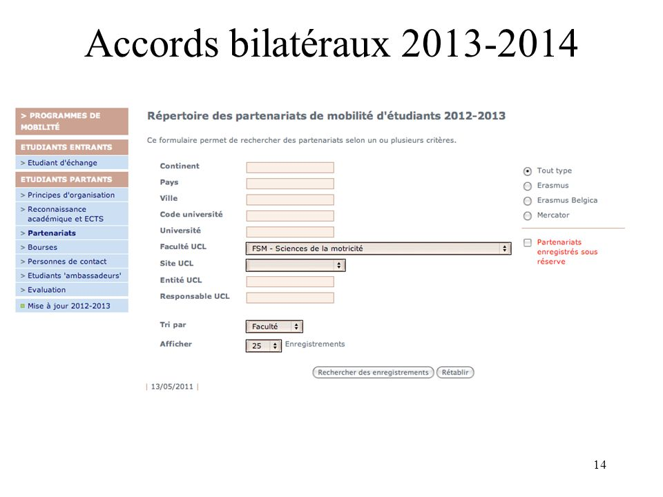 14 Accords bilatéraux 2013-2014