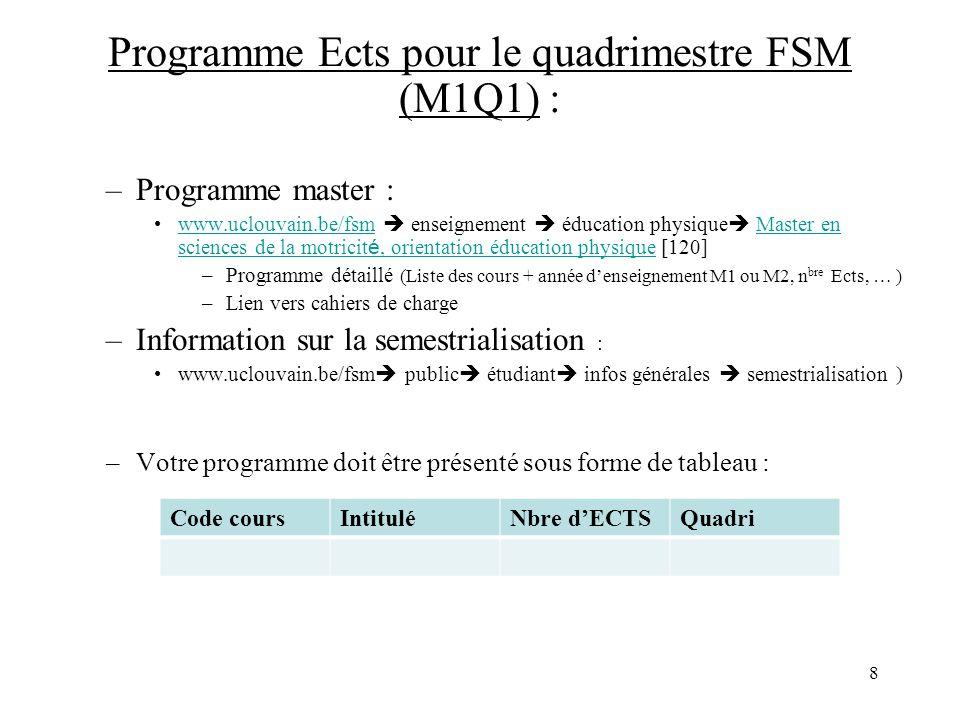 9 Proposition de programme - Destination 1(M1Q2) –Soit le programme est prédéfini, vous présentez ce programme ex.