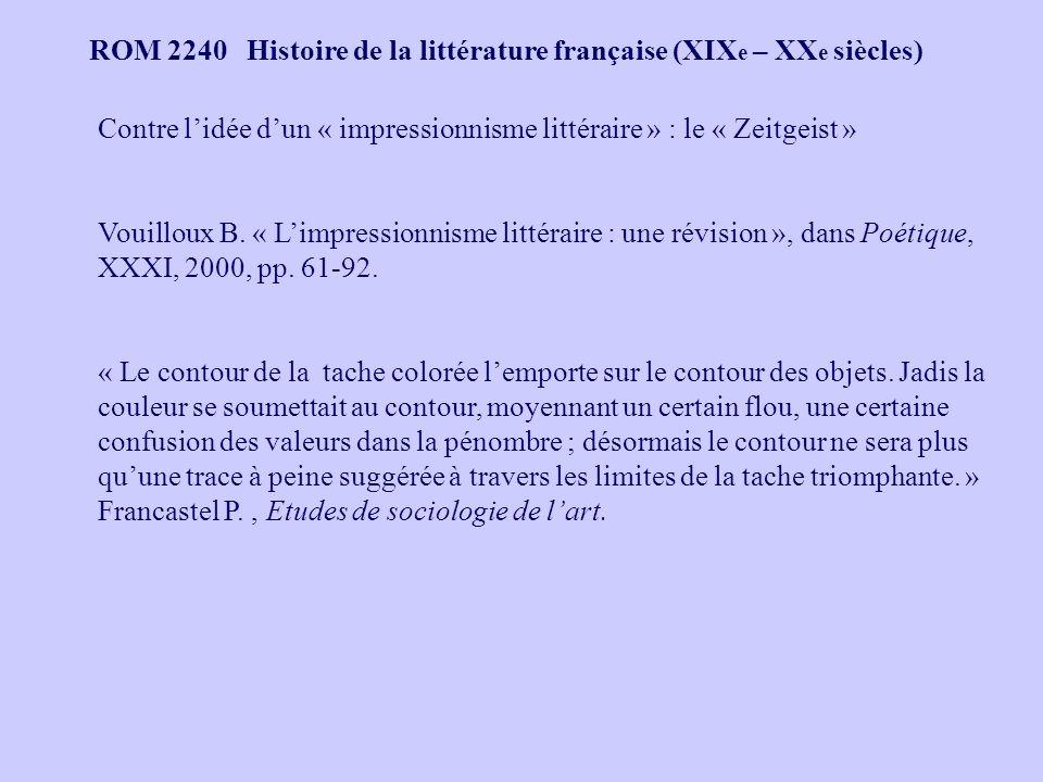 ROM 2240 Histoire de la littérature française (XIX e – XX e siècles) Contre lidée dun « impressionnisme littéraire » : le « Zeitgeist » Vouilloux B.