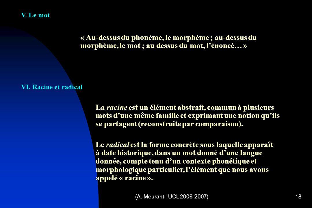 (A. Meurant - UCL 2006-2007)18 « Au-dessus du phonème, le morphème ; au-dessus du morphème, le mot ; au dessus du mot, lénoncé… » V. Le mot VI. Racine