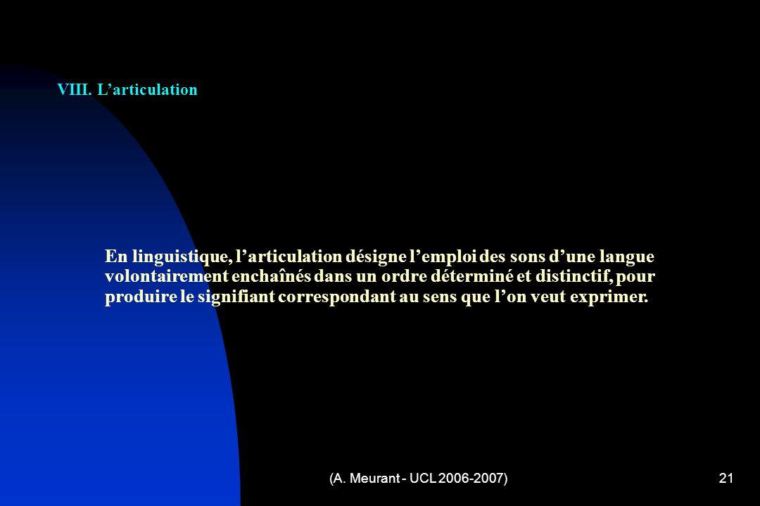 (A.Meurant - UCL 2006-2007)21 VIII.