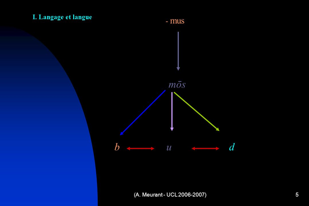(A. Meurant - UCL 2006-2007)5 - mus mōs b u d I. Langage et langue