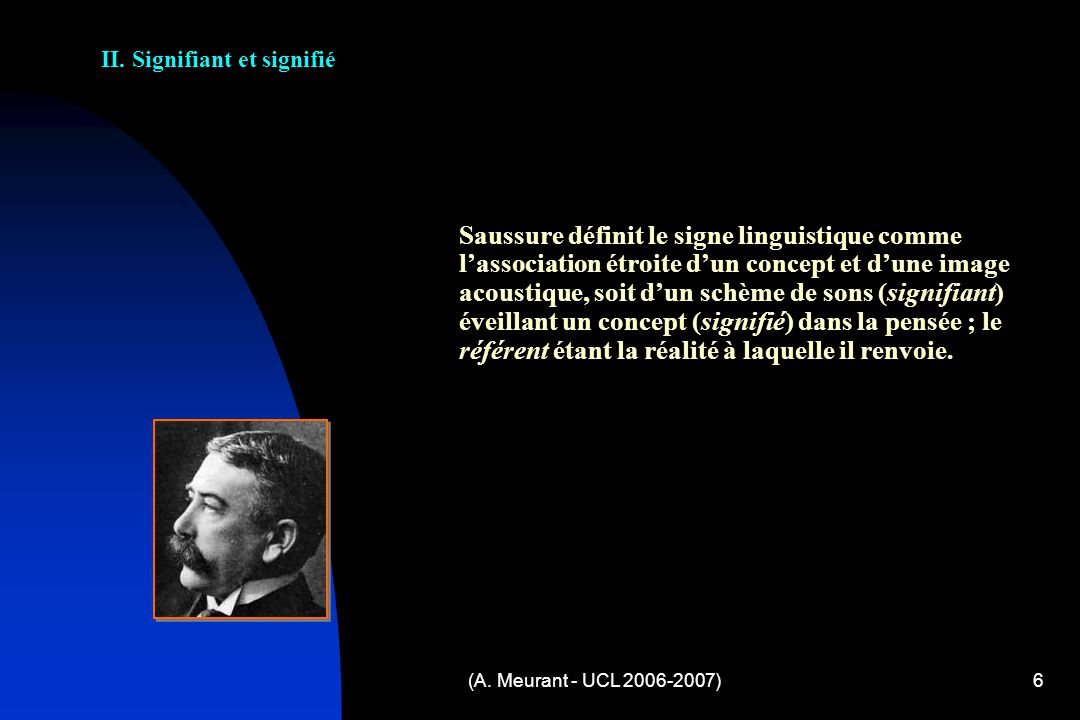 (A. Meurant - UCL 2006-2007)6 Saussure définit le signe linguistique comme lassociation étroite dun concept et dune image acoustique, soit dun schème