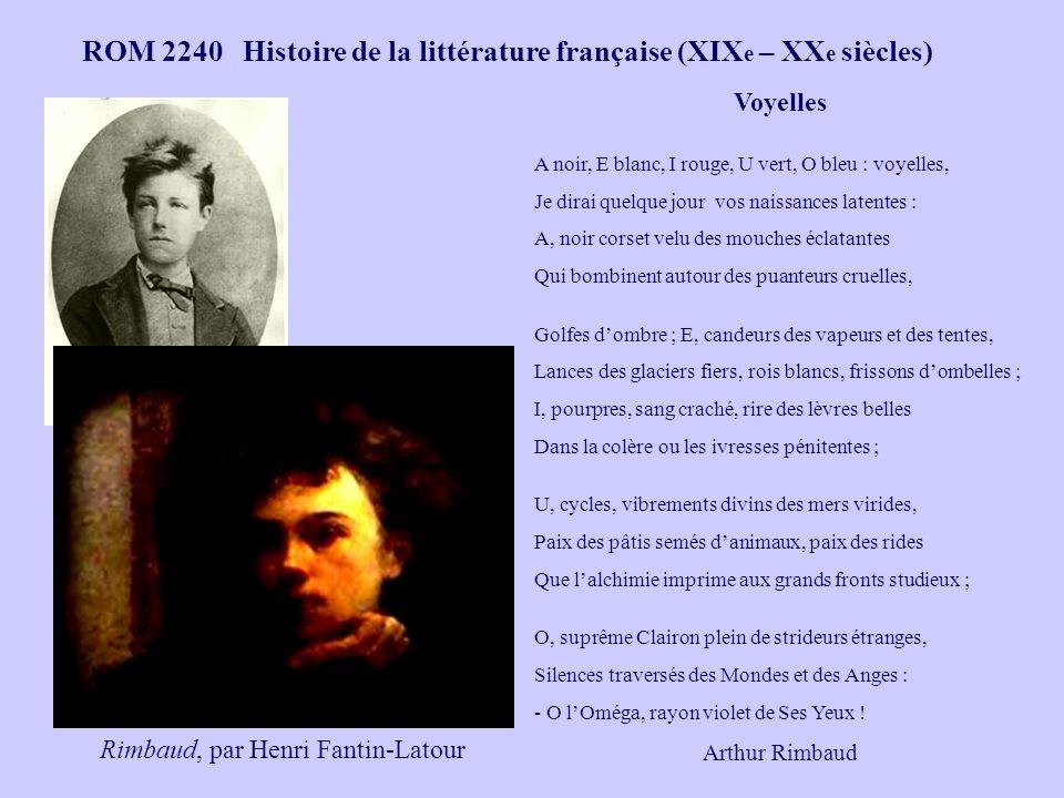 ROM 2240 Histoire de la littérature française (XIX e – XX e siècles) Voyelles A noir, E blanc, I rouge, U vert, O bleu : voyelles, Je dirai quelque jo