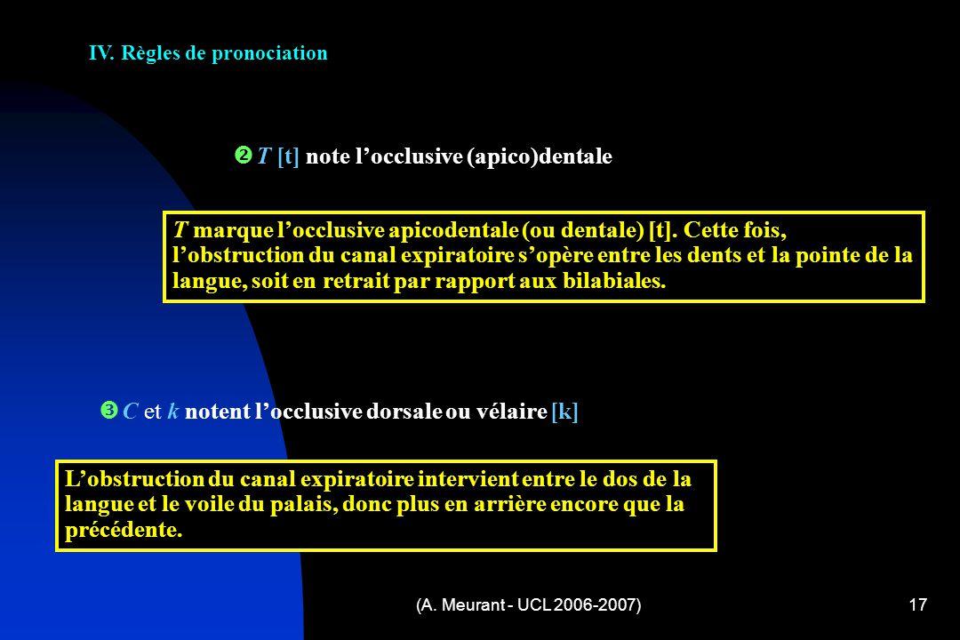 (A. Meurant - UCL 2006-2007)17 IV. Règles de pronociation C et k notent locclusive dorsale ou vélaire [k] Lobstruction du canal expiratoire intervient