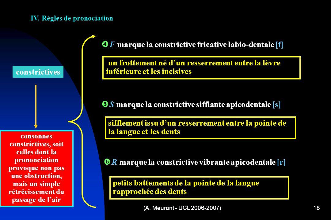 (A. Meurant - UCL 2006-2007)18 IV. Règles de pronociation F marque la constrictive fricative labio-dentale [f] S marque la constrictive sifflante apic