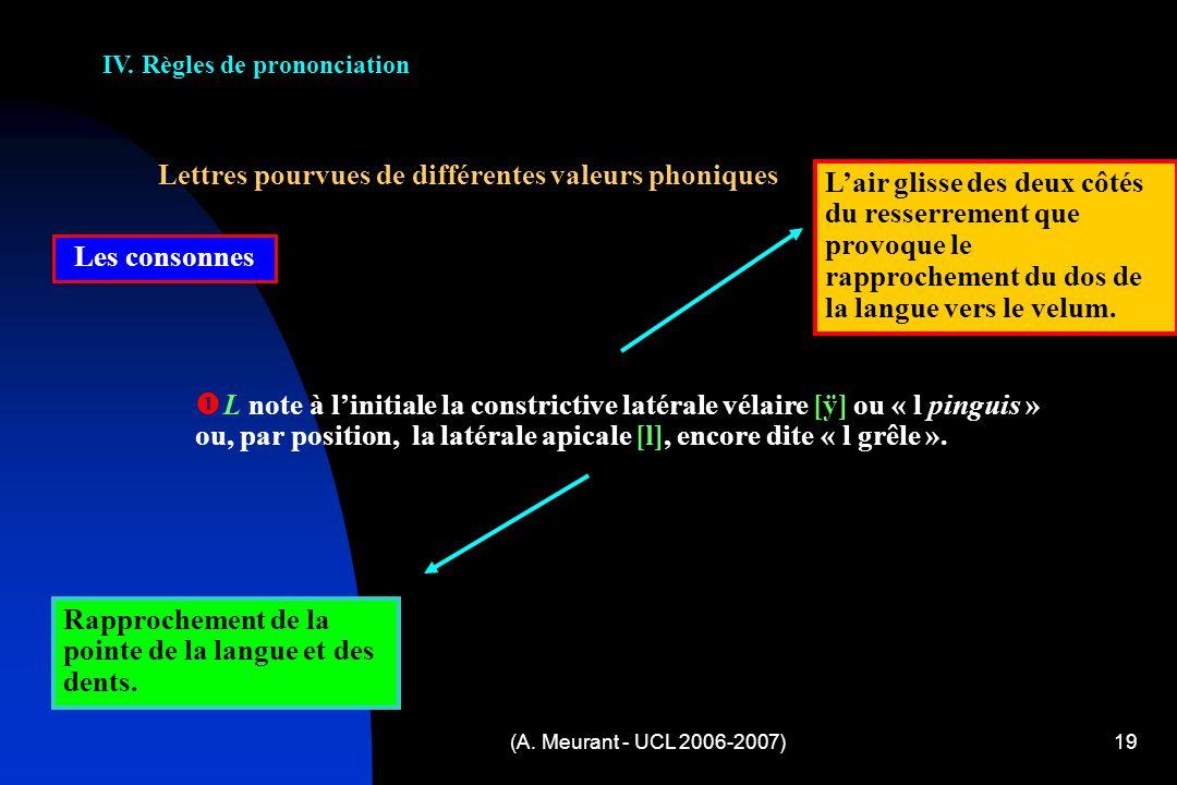 (A. Meurant - UCL 2006-2007)19 IV. Règles de prononciation Lettres pourvues de différentes valeurs phoniques Les consonnes L note à linitiale la const