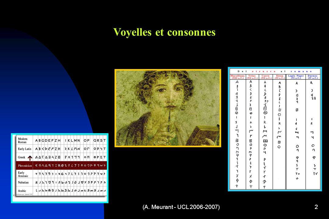 (A. Meurant - UCL 2006-2007)2 Voyelles et consonnes