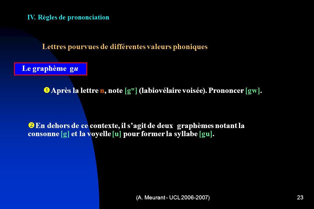 (A. Meurant - UCL 2006-2007)23 IV. Règles de prononciation Lettres pourvues de différentes valeurs phoniques Le graphème gu A près la lettre n, note [