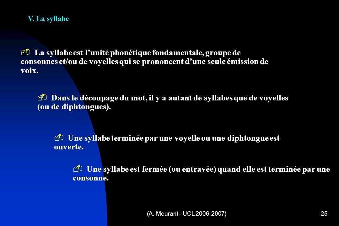 (A. Meurant - UCL 2006-2007)25 V. La syllabe L a syllabe est lunité phonétique fondamentale, groupe de consonnes et/ou de voyelles qui se prononcent d