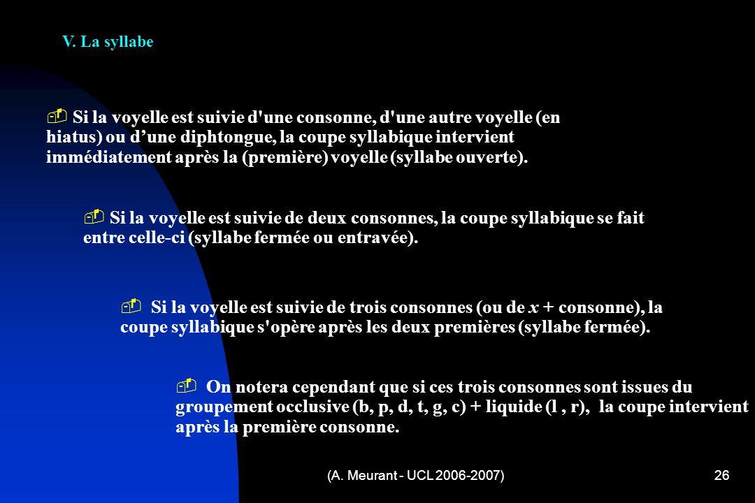 (A. Meurant - UCL 2006-2007)26 V. La syllabe S i la voyelle est suivie d'une consonne, d'une autre voyelle (en hiatus) ou dune diphtongue, la coupe sy