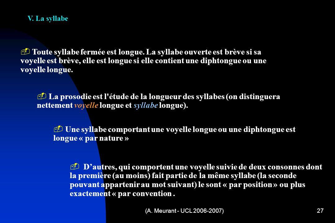 (A. Meurant - UCL 2006-2007)27 V. La syllabe T oute syllabe fermée est longue. La syllabe ouverte est brève si sa voyelle est brève, elle est longue s