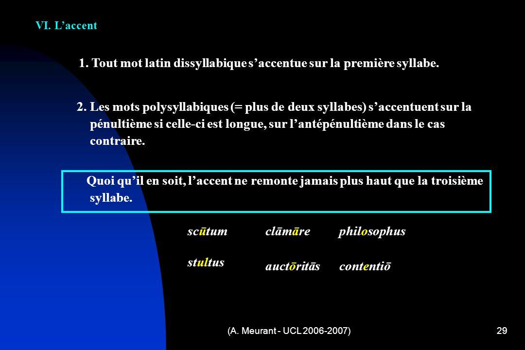 (A. Meurant - UCL 2006-2007)29 VI. Laccent 1. Tout mot latin dissyllabique saccentue sur la première syllabe. 2. Les mots polysyllabiques (= plus de d