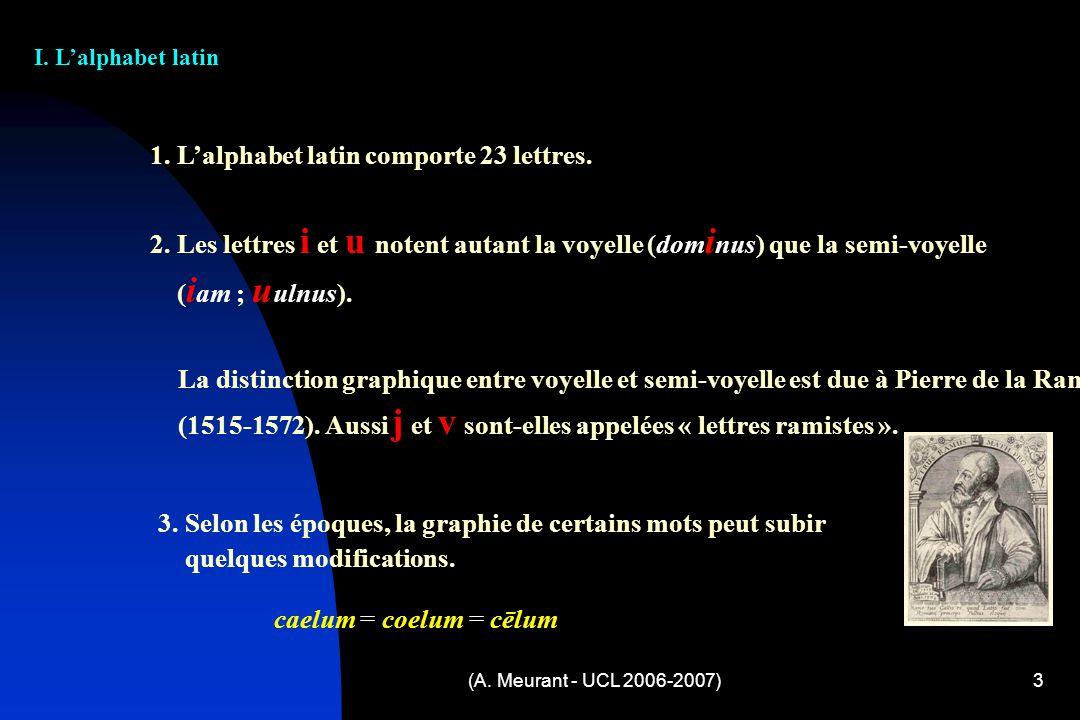 3 I. Lalphabet latin 1. Lalphabet latin comporte 23 lettres. 2. Les lettres i et u notent autant la voyelle (dom i nus) que la semi-voyelle ( i am ; u