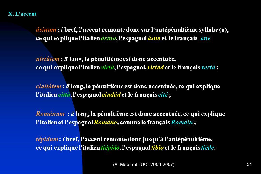 (A. Meurant - UCL 2006-2007)31 X. Laccent ásinum : i bref, l'accent remonte donc sur l'antépénultième syllabe (a), ce qui explique l'italien ásino, l'