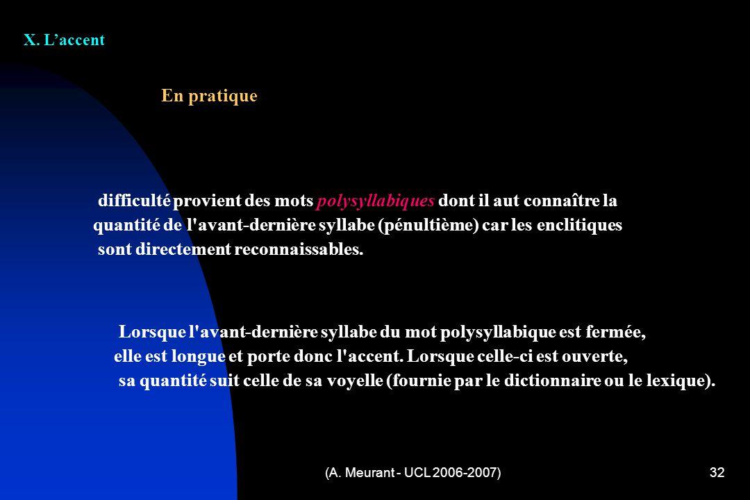 (A. Meurant - UCL 2006-2007)32 X. Laccent difficulté provient des mots polysyllabiques dont il aut connaître la quantité de l'avant-dernière syllabe (