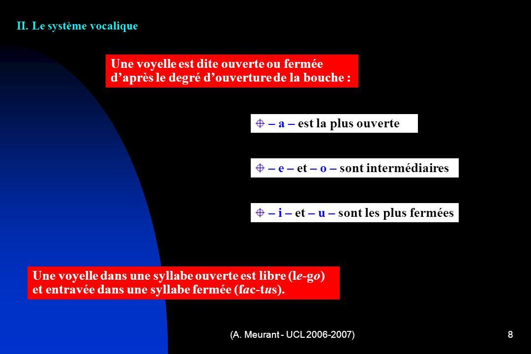 (A. Meurant - UCL 2006-2007)8 II. Le système vocalique Une voyelle est dite ouverte ou fermée daprès le degré douverture de la bouche : – a – est la p