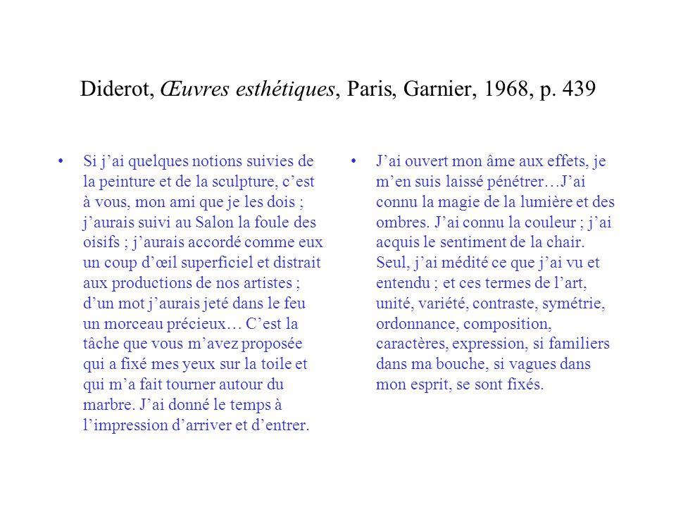 Diderot, Œuvres esthétiques, Paris, Garnier, 1968, p. 439 Si jai quelques notions suivies de la peinture et de la sculpture, cest à vous, mon ami que