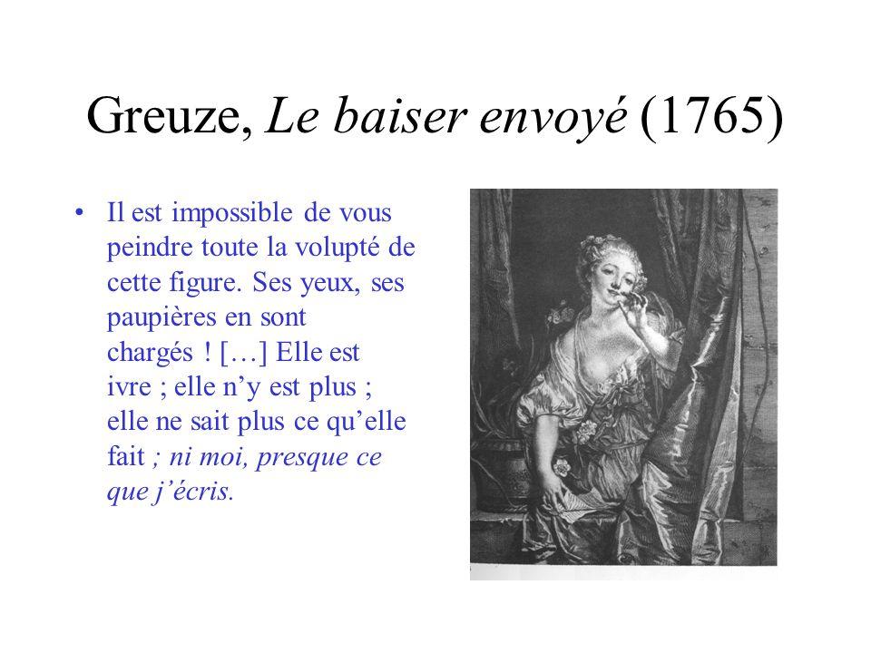 Greuze, Le baiser envoyé (1765) Il est impossible de vous peindre toute la volupté de cette figure. Ses yeux, ses paupières en sont chargés ! […] Elle