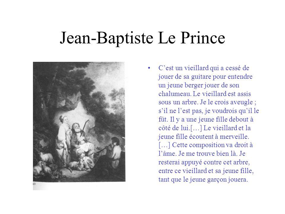 Jean-Baptiste Le Prince Cest un vieillard qui a cessé de jouer de sa guitare pour entendre un jeune berger jouer de son chalumeau. Le vieillard est as