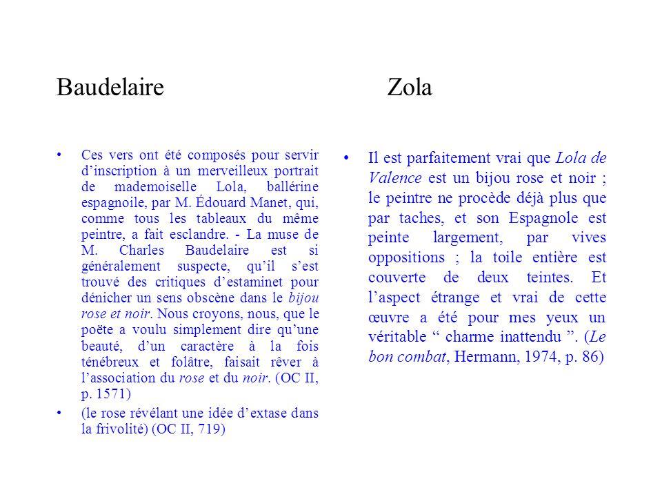 BaudelaireZola Ces vers ont été composés pour servir dinscription à un merveilleux portrait de mademoiselle Lola, ballérine espagnoile, par M. Édouard