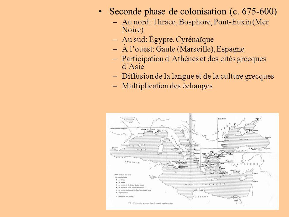 Seconde phase de colonisation (c. 675-600) –Au nord: Thrace, Bosphore, Pont-Euxin (Mer Noire) –Au sud: Égypte, Cyrénaïque –À louest: Gaule (Marseille)
