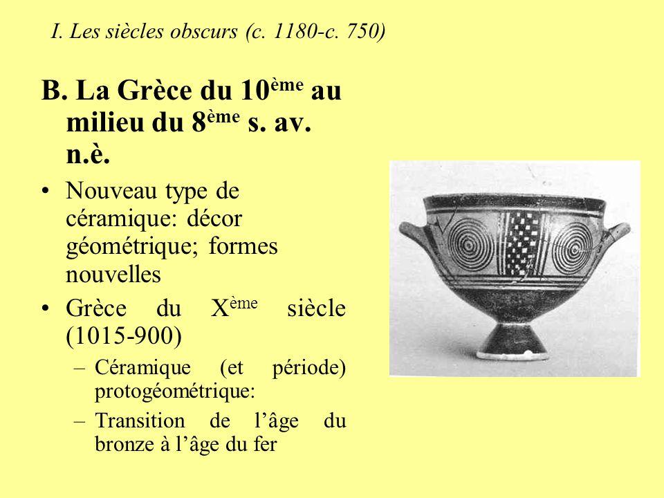 I. Les siècles obscurs (c. 1180-c. 750) B. La Grèce du 10 ème au milieu du 8 ème s. av. n.è. Nouveau type de céramique: décor géométrique; formes nouv
