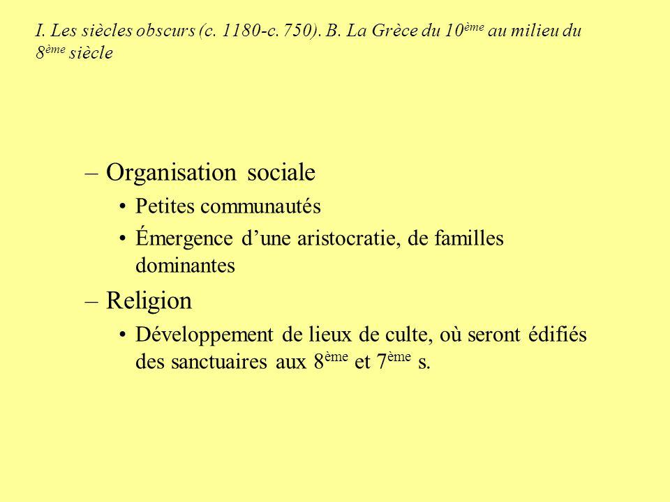 I. Les siècles obscurs (c. 1180-c. 750). B. La Grèce du 10 ème au milieu du 8 ème siècle –Organisation sociale Petites communautés Émergence dune aris