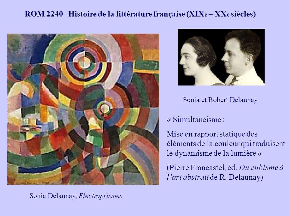 ROM 2240 Histoire de la littérature française (XIX e – XX e siècles) Vêtements de mode et coussin « simultanés » de Sonia Delaunay