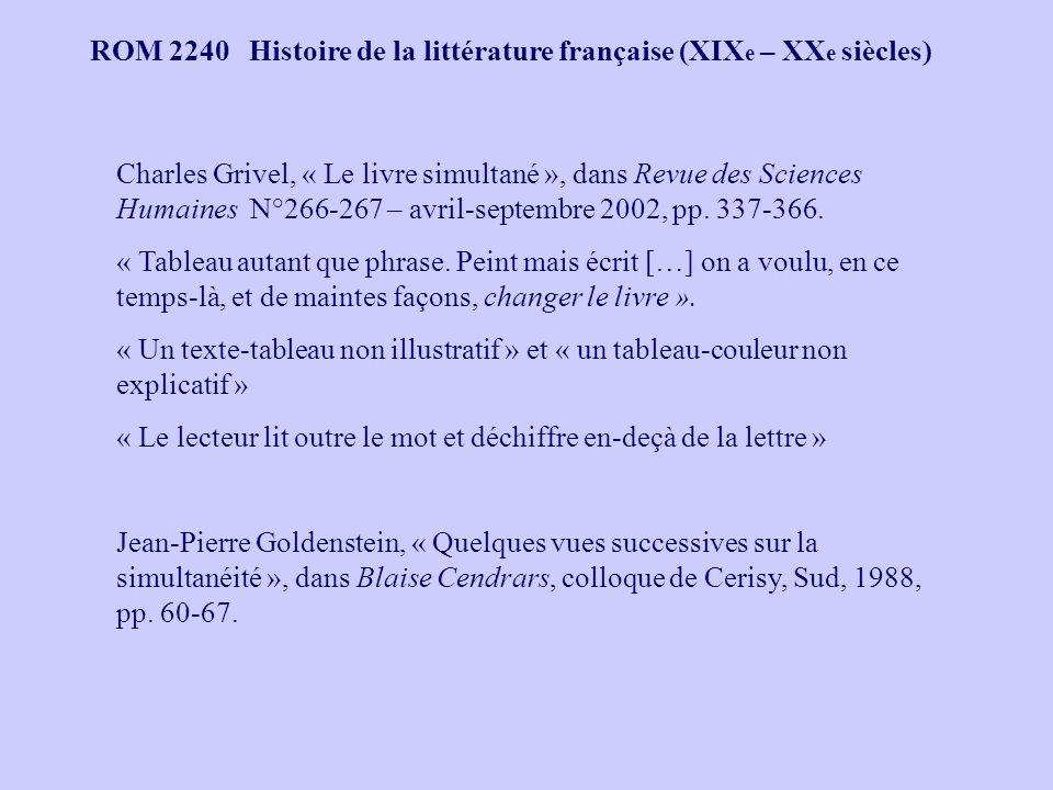 ROM 2240 Histoire de la littérature française (XIX e – XX e siècles) Charles Grivel, « Le livre simultané », dans Revue des Sciences Humaines N°266-267 – avril-septembre 2002, pp.