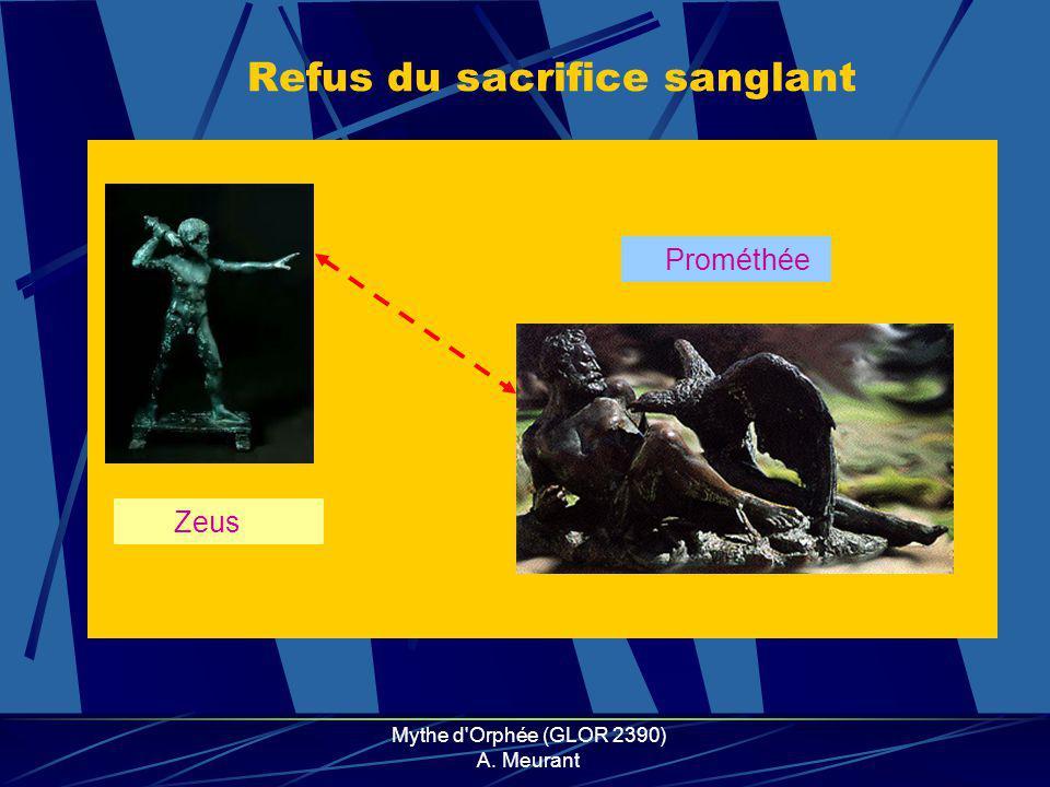 Mythe d Orphée (GLOR 2390) A. Meurant Refus du sacrifice sanglant Zeus Prométhée